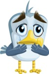 Seabird Cartoon Vector Character AKA Gulliver SeaBird - Sad 2