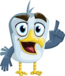 Seabird Cartoon Vector Character AKA Gulliver SeaBird - Attention