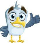 Seabird Cartoon Vector Character AKA Gulliver SeaBird - Thumbs Up