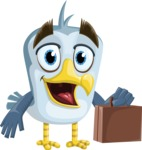 Seabird Cartoon Vector Character AKA Gulliver SeaBird - Briefcase