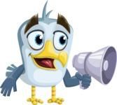 Seabird Cartoon Vector Character AKA Gulliver SeaBird - Loudspeaker