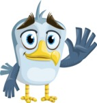 Seabird Cartoon Vector Character AKA Gulliver SeaBird - Wave