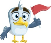 Seabird Cartoon Vector Character AKA Gulliver SeaBird - Flag