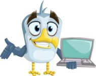 Seabird Cartoon Vector Character AKA Gulliver SeaBird - Laptop 1