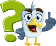 Seabird Cartoon Vector Character AKA Gulliver SeaBird - Question Mark