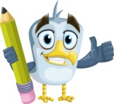 Seabird Cartoon Vector Character AKA Gulliver SeaBird - Pencil