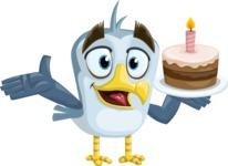 Seabird Cartoon Vector Character AKA Gulliver SeaBird - Cake