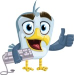 Seabird Cartoon Vector Character AKA Gulliver SeaBird - Keyboard