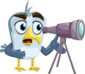 Seabird Cartoon Vector Character AKA Gulliver SeaBird - Telescope