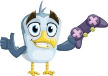 Seabird Cartoon Vector Character AKA Gulliver SeaBird - Joystick