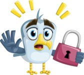 Seabird Cartoon Vector Character AKA Gulliver SeaBird - Lock