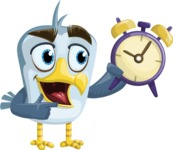 Seabird Cartoon Vector Character AKA Gulliver SeaBird - On Time
