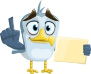 Seabird Cartoon Vector Character AKA Gulliver SeaBird - Sign 2