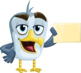 Seabird Cartoon Vector Character AKA Gulliver SeaBird - Sign 3