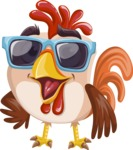 Rooster Cartoon Vector Character AKA Mr. Cock-a-Doodle-Doo - Sunglasses