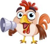 Rooster Cartoon Vector Character AKA Mr. Cock-a-Doodle-Doo - Loudspeaker