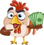 Rooster Cartoon Vector Character AKA Mr. Cock-a-Doodle-Doo - Show me the Money
