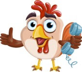 Rooster Cartoon Vector Character AKA Mr. Cock-a-Doodle-Doo - Support 2
