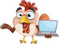 Rooster Cartoon Vector Character AKA Mr. Cock-a-Doodle-Doo - Laptop 1