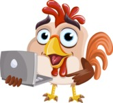 Rooster Cartoon Vector Character AKA Mr. Cock-a-Doodle-Doo - Laptop 2