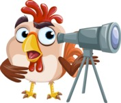 Rooster Cartoon Vector Character AKA Mr. Cock-a-Doodle-Doo - Telescope