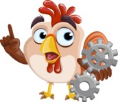 Rooster Cartoon Vector Character AKA Mr. Cock-a-Doodle-Doo - Gears