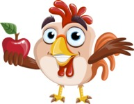 Rooster Cartoon Vector Character AKA Mr. Cock-a-Doodle-Doo - Apple