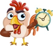 Rooster Cartoon Vector Character AKA Mr. Cock-a-Doodle-Doo - On Time
