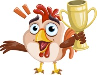 Rooster Cartoon Vector Character AKA Mr. Cock-a-Doodle-Doo - Trophy