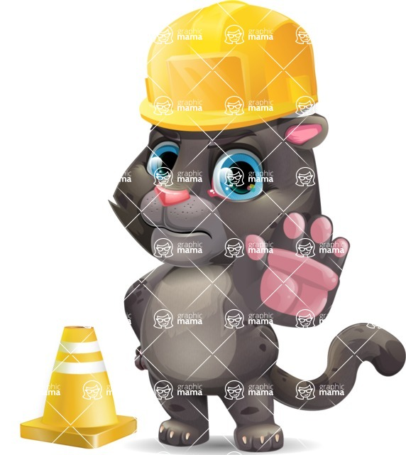 Baby Black Panther Cartoon Vector Character - as a Construction worker