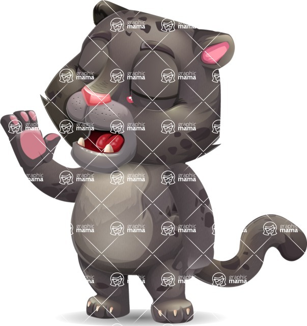Baby Black Panther Cartoon Vector Character - Feeling Bored