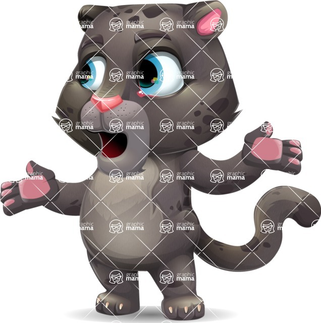 Baby Black Panther Cartoon Vector Character - Feeling Lost