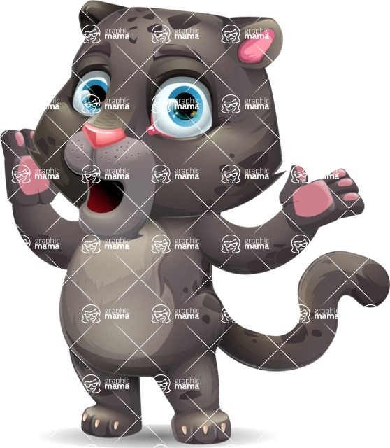 Baby Black Panther Cartoon Vector Character - Feeling Shocked
