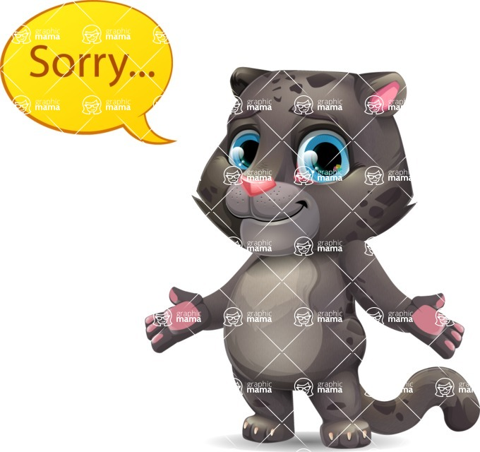 Baby Black Panther Cartoon Vector Character - Feeling sorry