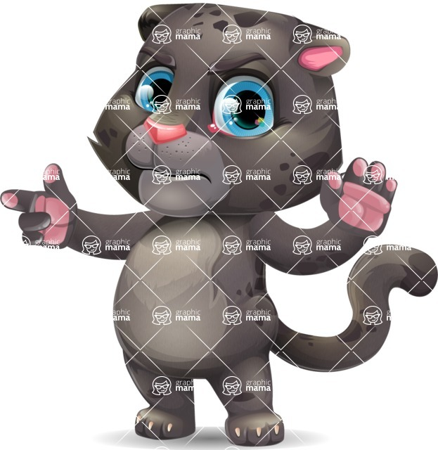 Baby Black Panther Cartoon Vector Character - Finger pointing with angry face