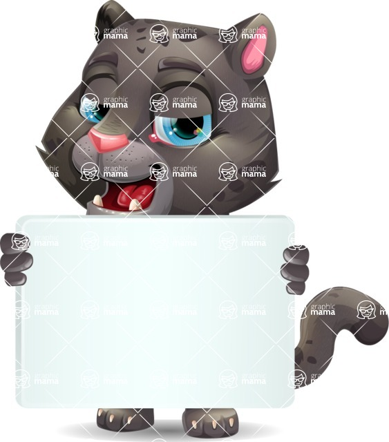 Baby Black Panther Cartoon Vector Character - Holding a Big Blank banner