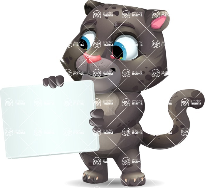 Baby Black Panther Cartoon Vector Character - Holding a Blank sign