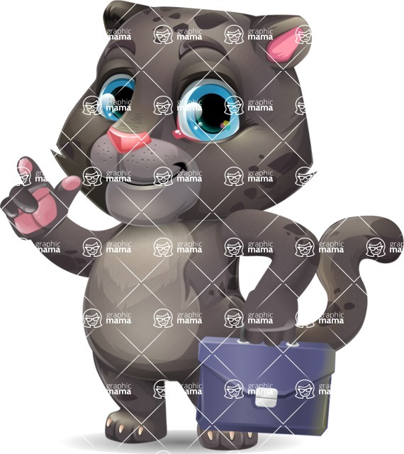 Baby Black Panther Cartoon Vector Character - Holding a briefcase