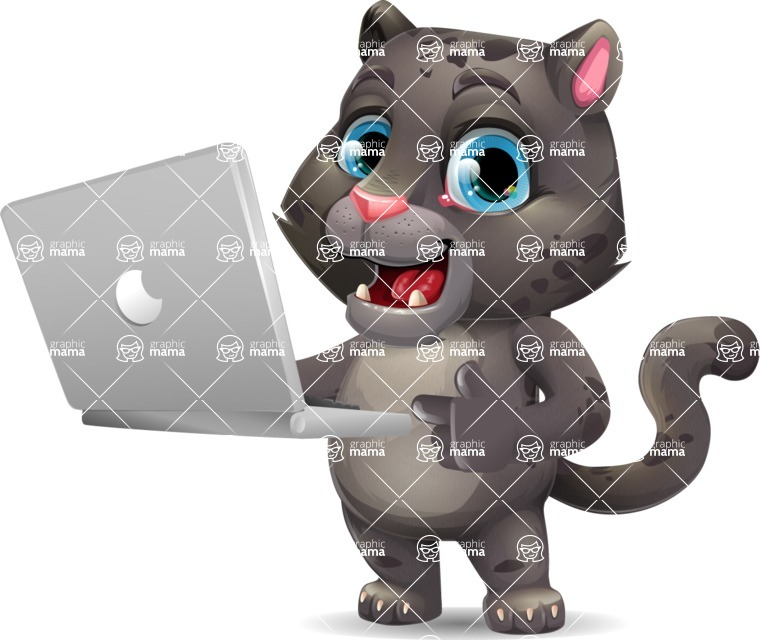 Baby Black Panther Cartoon Vector Character - Holding a laptop