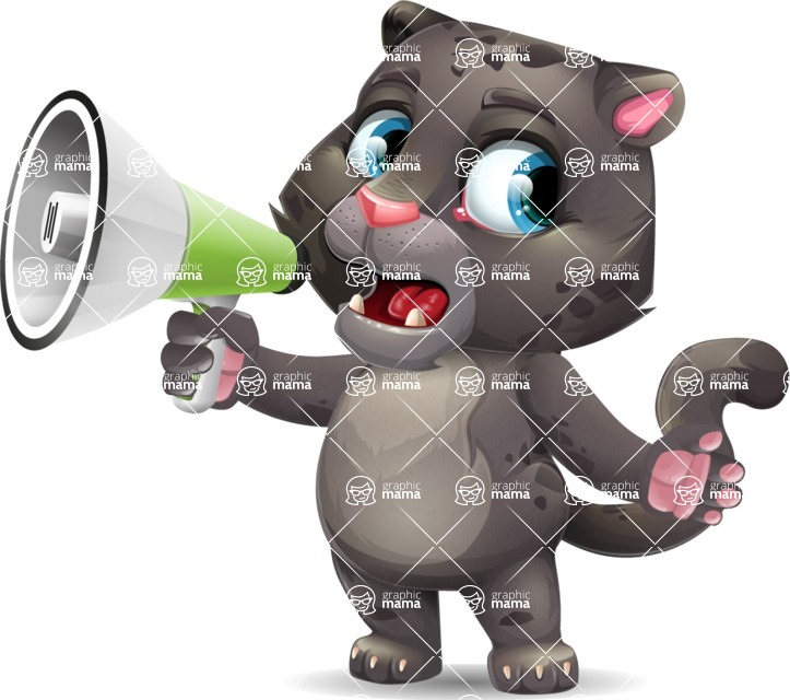Baby Black Panther Cartoon Vector Character - Holding a Loudspeaker