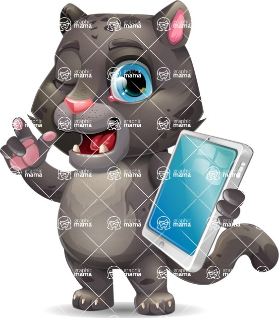 Baby Black Panther Cartoon Vector Character - Holding an iPad