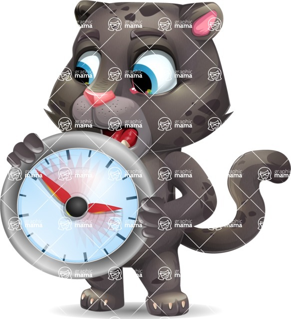 Baby Black Panther Cartoon Vector Character - Holding clock