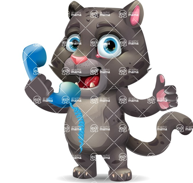 Baby Black Panther Cartoon Vector Character - Holding phone with thumbs up