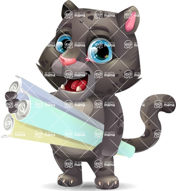 Baby Black Panther Cartoon Vector Character - Holding Plans