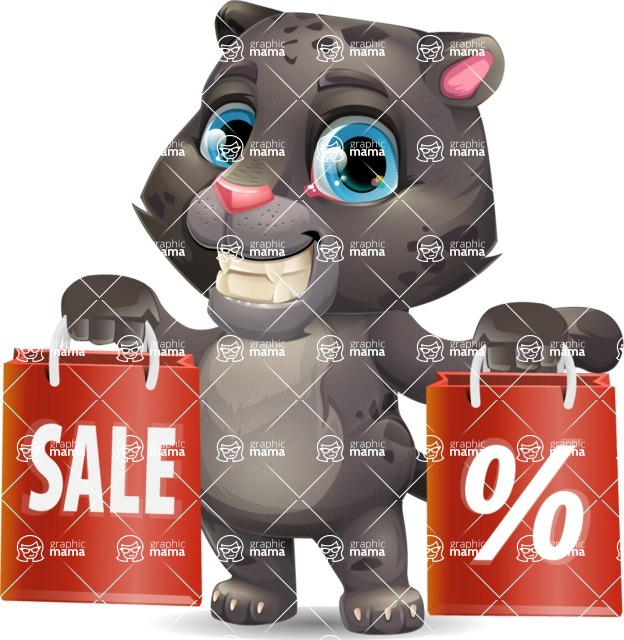 Baby Black Panther Cartoon Vector Character - Holding shopping bags