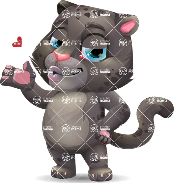 Baby Black Panther Cartoon Vector Character - Making a Duckface for a selfie
