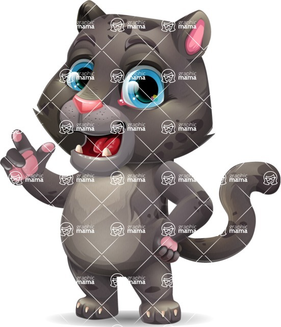 Baby Black Panther Cartoon Vector Character - Making a point