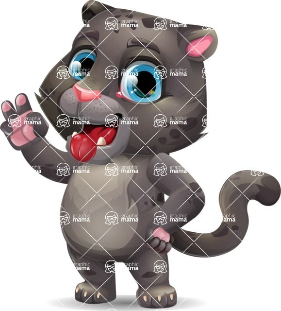 Baby Black Panther Cartoon Vector Character - Making Funny face