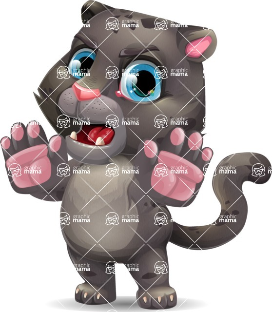 Baby Black Panther Cartoon Vector Character - Making stop gesture with both hands