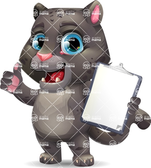 Baby Black Panther Cartoon Vector Character - Making thumbs up with notepad